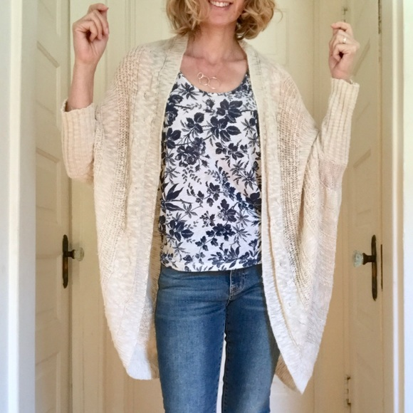 Ladies Womens Batwing Oversized Cocoon Open Front Rib Knitted Cardigan Kimono